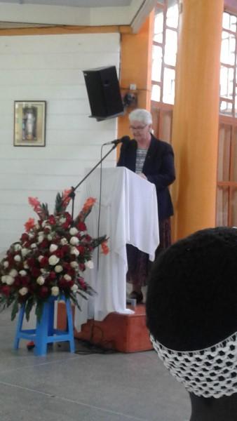 Sr. Margo Murphy bringing greetings from UK & Ireland Province