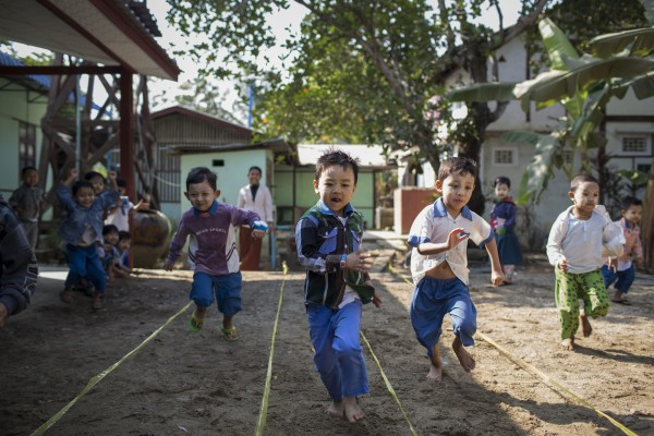 Children participate in games at St Teresa's Pre School at Oatshipin town outside Pyey. The RNDM Sisters run a number of pre schools in and around the city of Pyey in Myanmar.